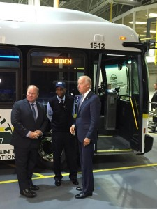 Mayor Duggan and DDOT staff enthusiastically welcomed Vice President Joe Biden's help in purchasing 80 new buses for the DDOT fleet.