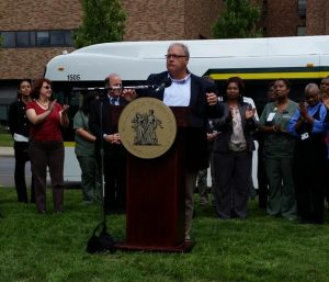 DDOT Director Dan Dirks, joined by TRUs Megan Owens, Mayor Mike Duggan and St. John Hospital staff
