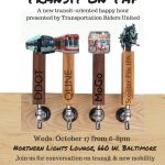 A flyer for Transit on Tap depicting different modes of transportation as beer taps, including Scooter Pile IPA