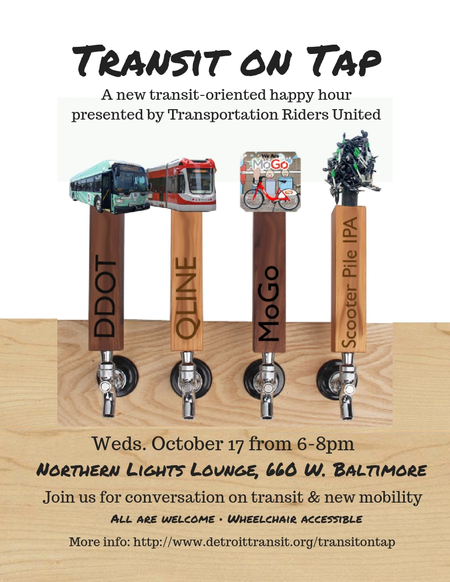 A flyer for Transit on Tap, featuring different modes of transportation at the top of beer taps.