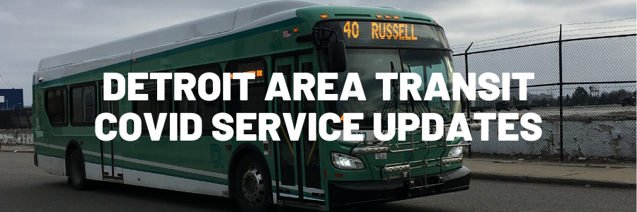"An image of a 40 Russell bus with the words ""Detroit Area Transit COVID Service Updates"" over it."