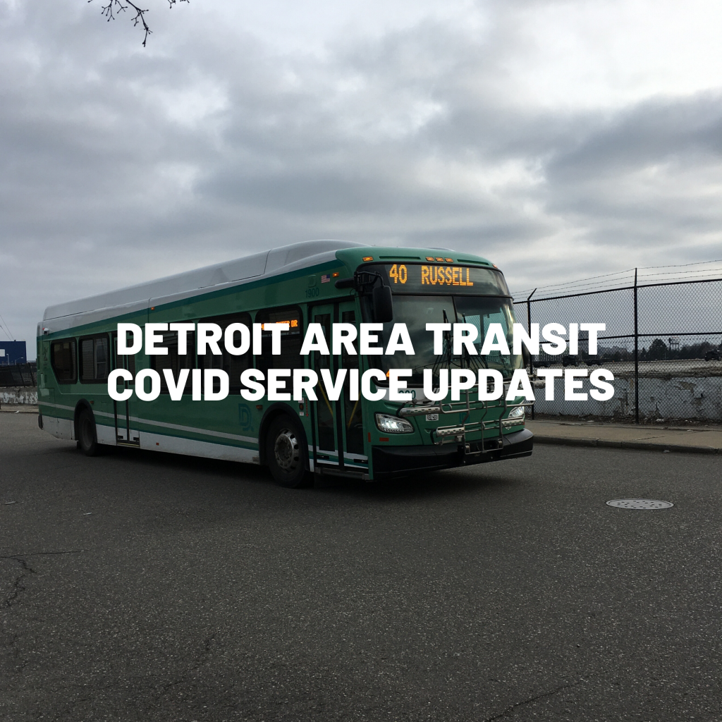An image of the Russell Bus with the words DETROIT AREA TRANSIT COVID SERVICE UPDATES over it